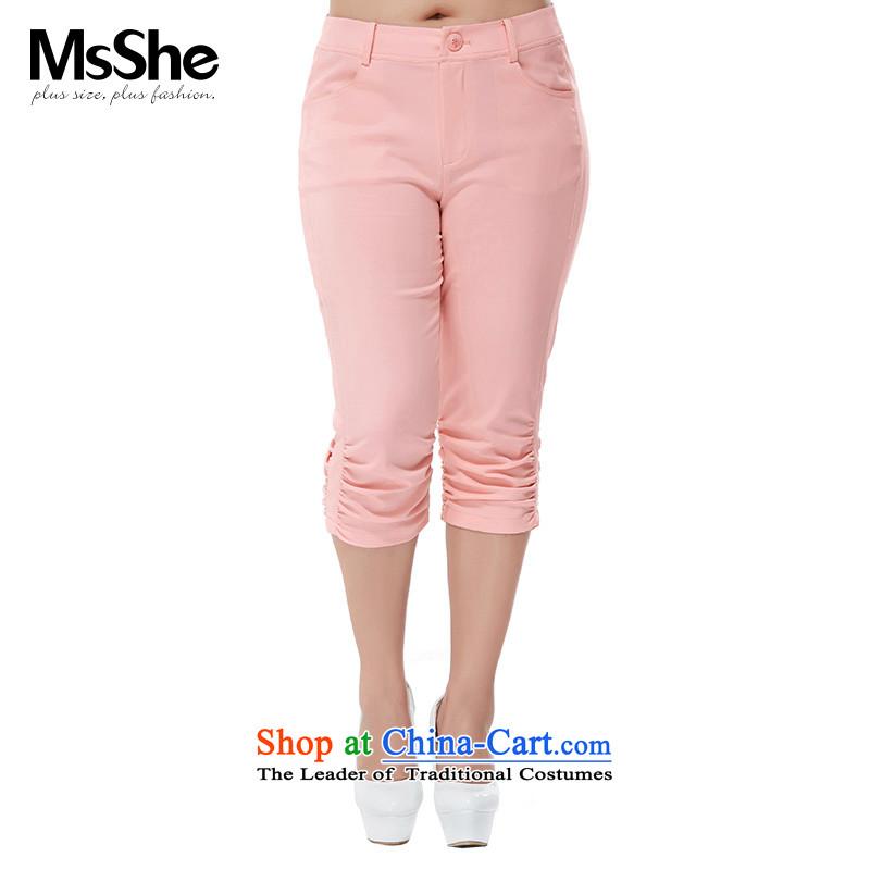 Msshe xl female Capri 2015 new expertise mm video thin cotton pants Sau San 6 956 new pink燭5