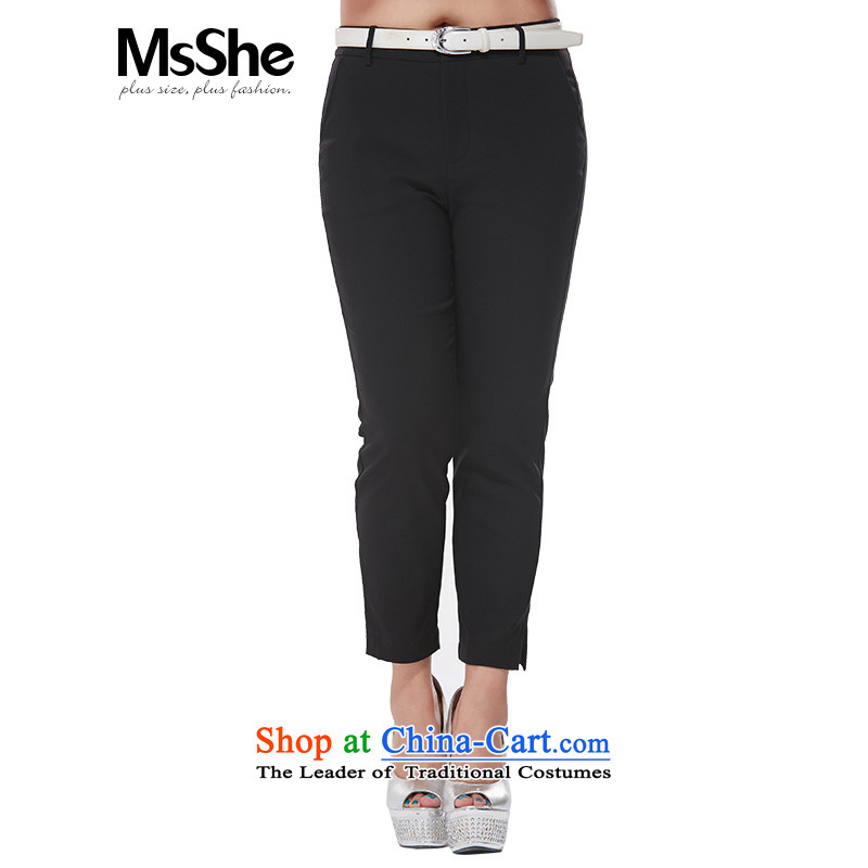 Msshe xl women 2015 Autumn replacing the new graphics thin Sau San casual pants Solid Color 9 black trousers Proclamation 7359� T1