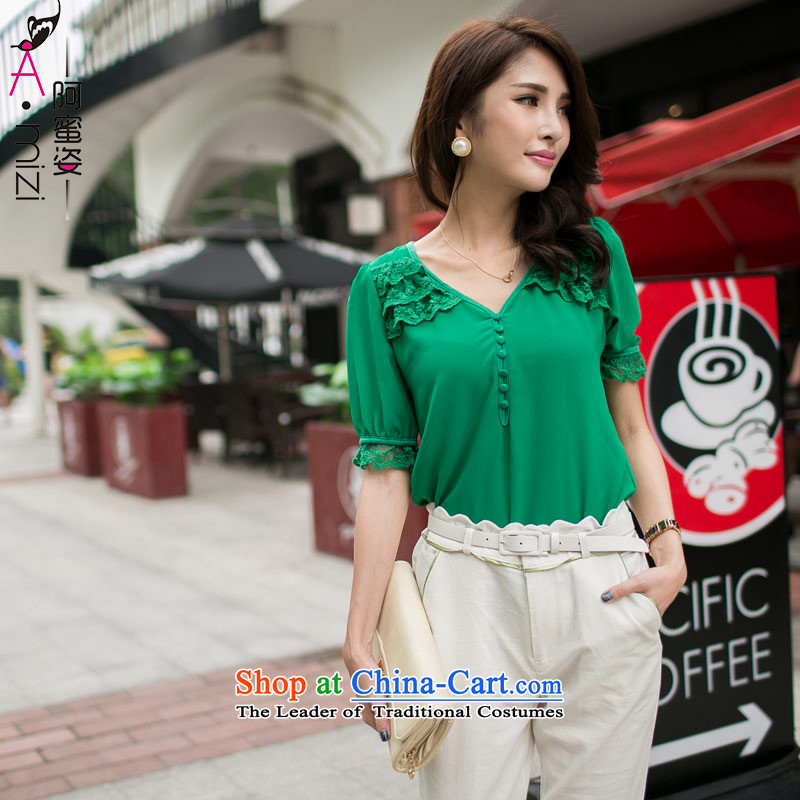 Amista Asagaya Gigi Lai Fat mm larger women's summer new lace video thin Korean citizenry shirt chiffon shirt women 8997 Green聽XL