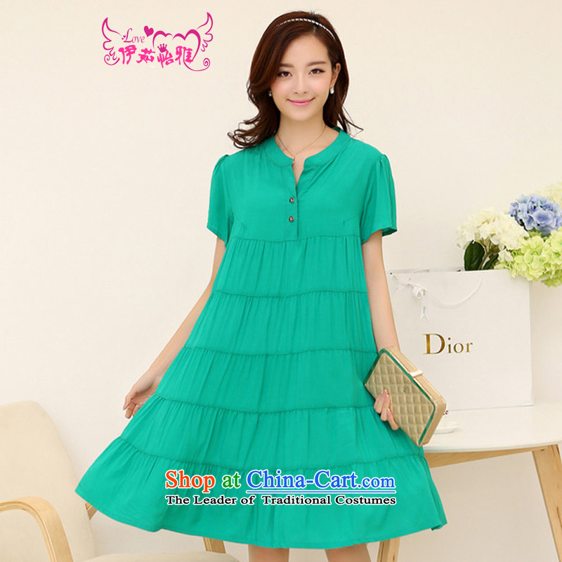 El-ju in Yee Nga long thick MM video thin 4XL new summer larger female to intensify the skirt YJ169聽XXXL green