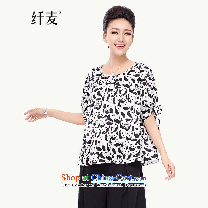 The former Yugoslavia Migdal Code women 2015 Summer new stylish Korean mm thick black and white flowers of 7 collision sleeved shirt�89燘lack and White燤