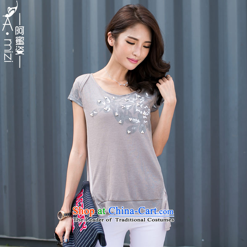 The Honey new summer Gigi Lai Fat mm larger female feng shui ink nail pearl leave 2 t-shirts are t-shirt female 8765 Light Gray聽XXL