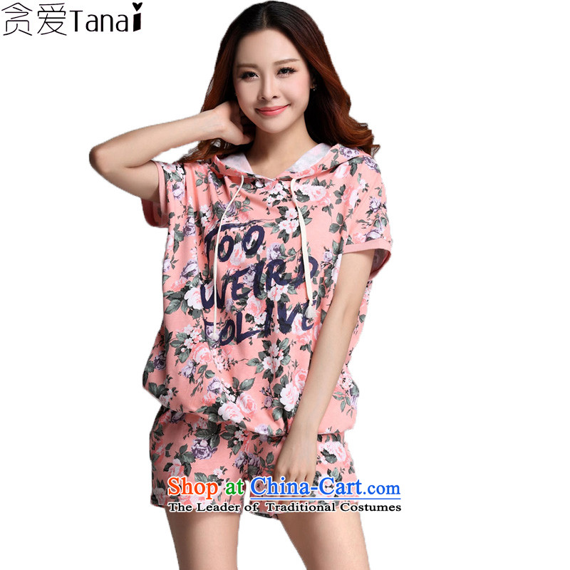 Indulge the NEW Summer Korean fashion to increase women's code kit loose clothing of two kits 3559th pink�L