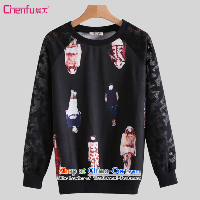 Morning to 2015 autumn and winter new Korean version of large numbers of ladies lace stitching forming the Netherlands thick MM stylish stamp loose video thin long-sleeved T-shirt, forming the top female black 3XL recommendations 140-150catty