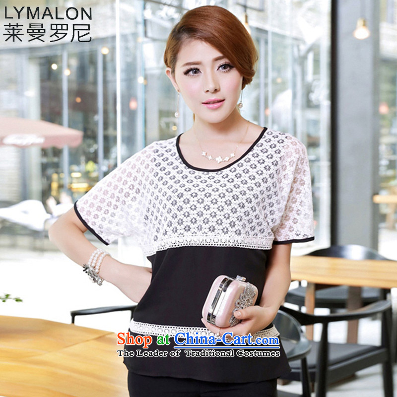 The lymalon lehmann thick, Hin thin Summer 2015 New Product Version Korea Women's extra stylish lace stitching short-sleeved shirt 1671 pictures chiffon colored 2XL