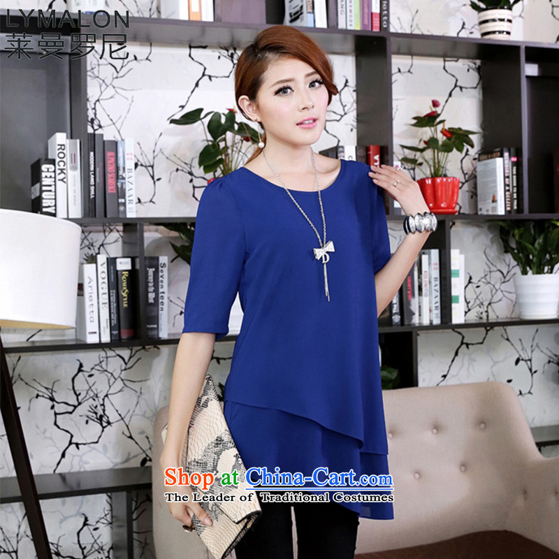The lymalon2015 lehmann summer edition of the new Korean women do not code hypertrophy, under the rule in the Cuff video thin chiffon Netherlands shirt 1673 Blue�L