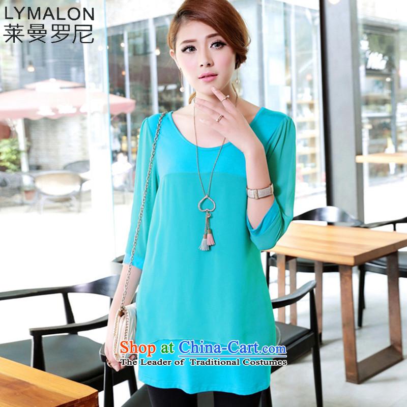 The lymalon Lehmann Summer 2015 new product version of large Korean women loose video decode thin chiffon stitching-sleeve T-shirt, green�L 2649
