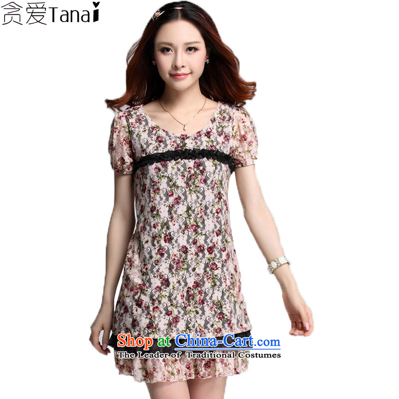 Coveted XL Women's Summer new lady video thin Sau San short-sleeved lace dresses 3565th pink燲L