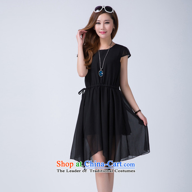 Summer 2015 XL thick mm women's dresses pure color graphics thin elegant Sau San for high-end of the atmosphere even turning black skirt燲XL