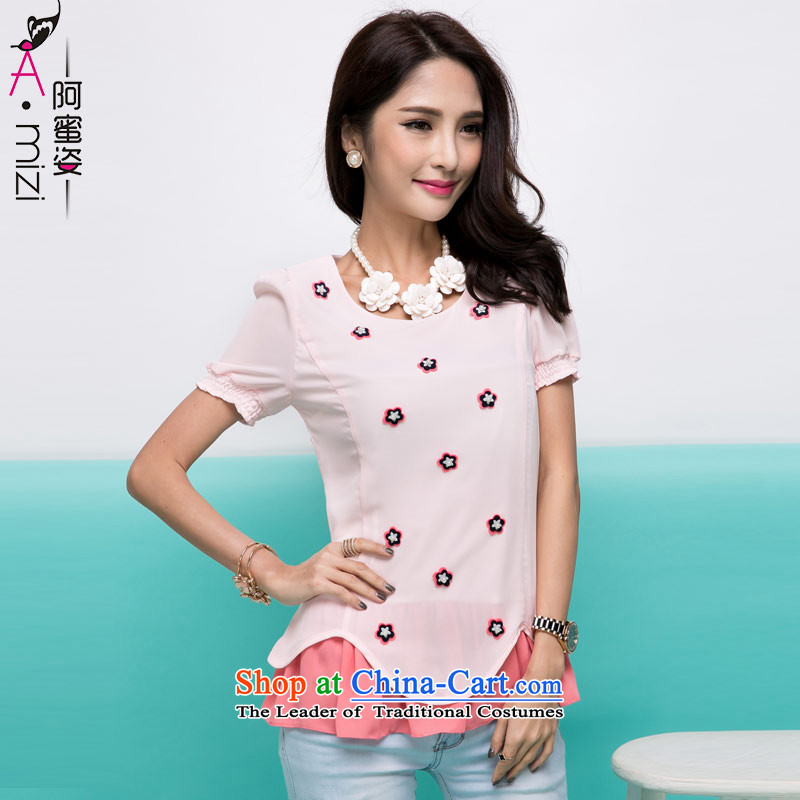 Amista Asagaya Gigi Lai summer large mm thick Korean women leave 2 color plane collision with nails PEARL FLOWER omelet chiffon shirt female8736pinkXXL