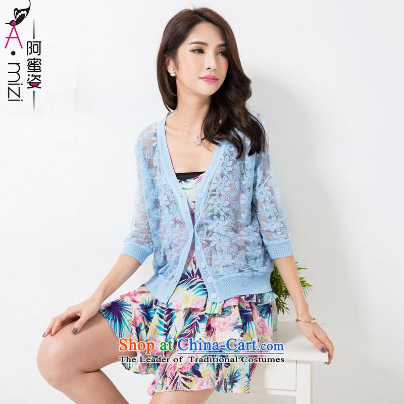 Amista Asagaya Gigi Lai summer new mm thick larger female Korean engraving lace. sunscreen shirt-sleeves shirt cardigan women air-conditioned 8794 light blue燲L