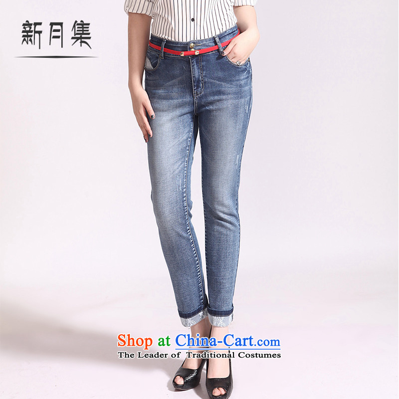 Crescent set larger female jeans pants 9 Top Loin of graphics and possession of meat mentioned thin lace thick MM Sau San for larger and trousers Blue�