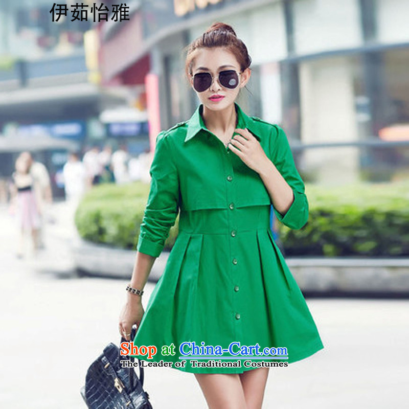 El-ju Yee Nga爈arge load spring and autumn 2015 Women's stylish Korean citizenry embroidery of Sau San shirt YY2680 GREEN燲XL