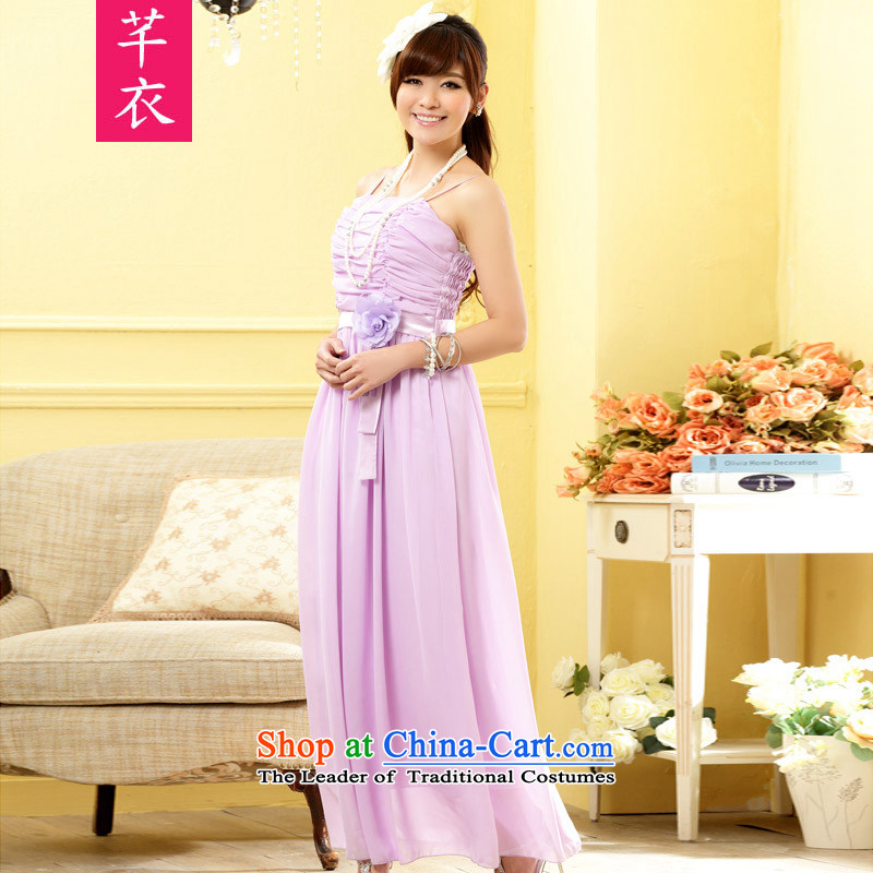 In the summer of 2015, new stylish sister skirt bridesmaid flowers long version of the evening dresses thick mm chiffon l plus annual Women's code hypertrophy Lien Yi skirt purple to large are code�-120 catty