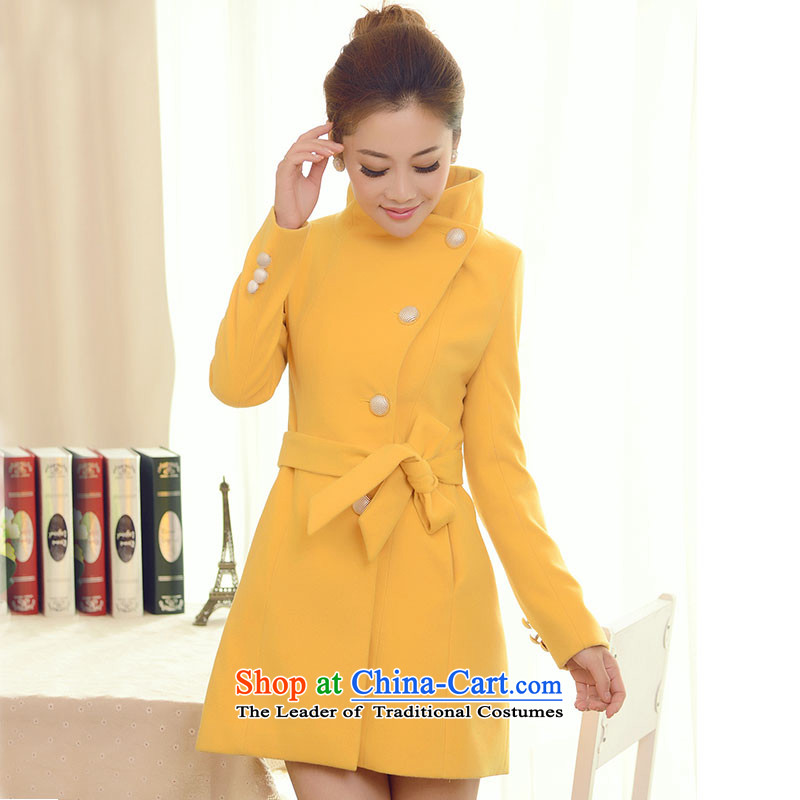 2015 Autumn and Winter Story 198 new Korean women's gross girls jacket? Long Sau San a wool coat female yellow聽L