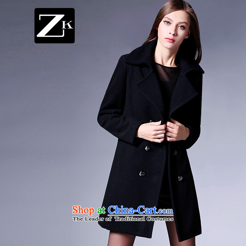 Zk Western women 2015 Fall_Winter Collections New Pure color coats and stylish Sau San Mao?? black jacket temperament gross XL