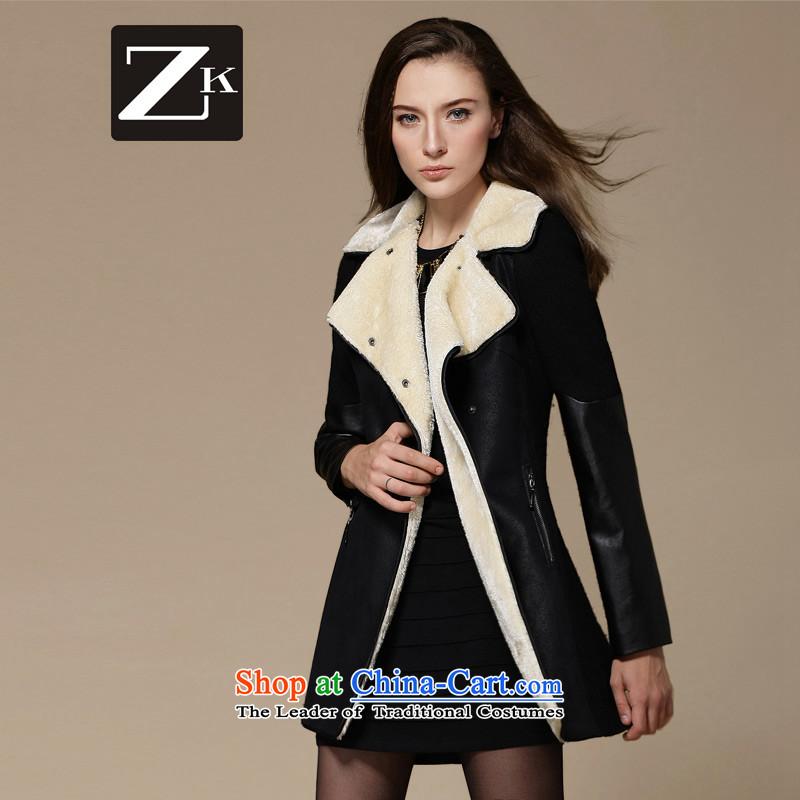 Zk Western women2015 Fall_Winter Collections new gross? coats that long hair? jacket a wool coat BlackXL