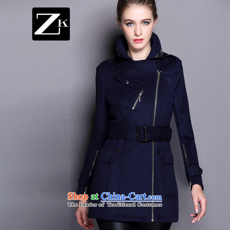 Zk2015 female new autumn and winter coats that long hair? What gross blue jacket燤