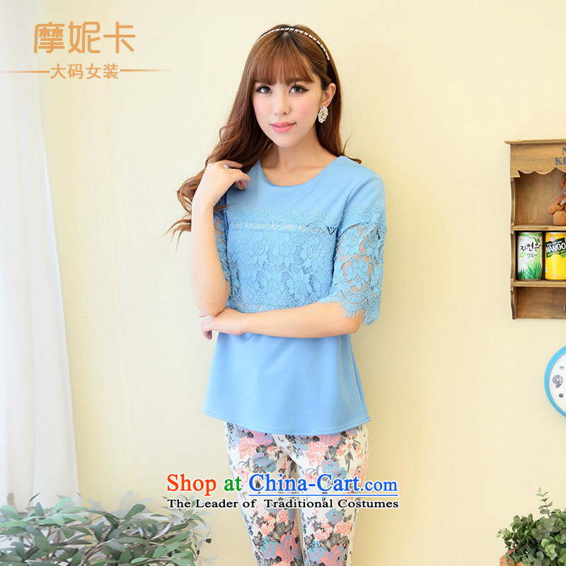Xl female mm2014 thick Korean new summer thick sister video thin lace stitching short-sleeved T-shirt with round collar blue燲XL