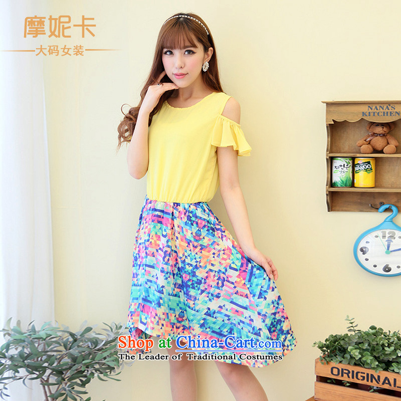 Maximum number of ladies thick mm2014 summer new Korean version of Lotus thin shoulders cuff stitching short-sleeved chiffon dresses Yellow燲L