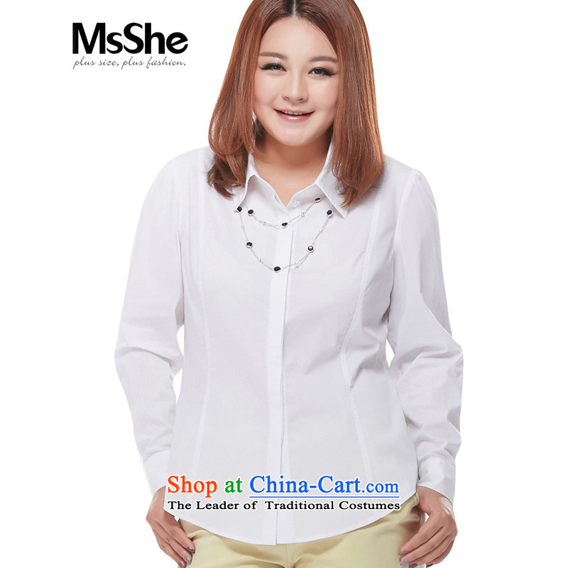 Msshe xl women�15 autumn the new SISTER OL long-sleeved video thick thin flip t-shirts_blouses 7347 white long-sleeved�L