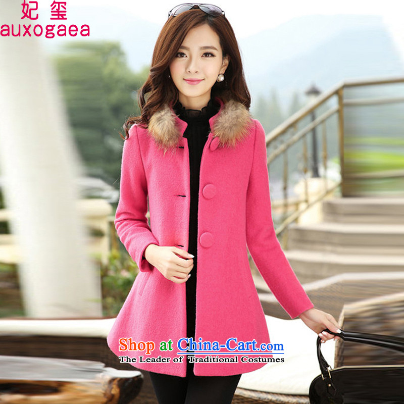 Princess Royal Seal 2015 autumn and winter in the new red long hair female Korean jacket?   A type a wool coat larger female 15215 honey red?XL