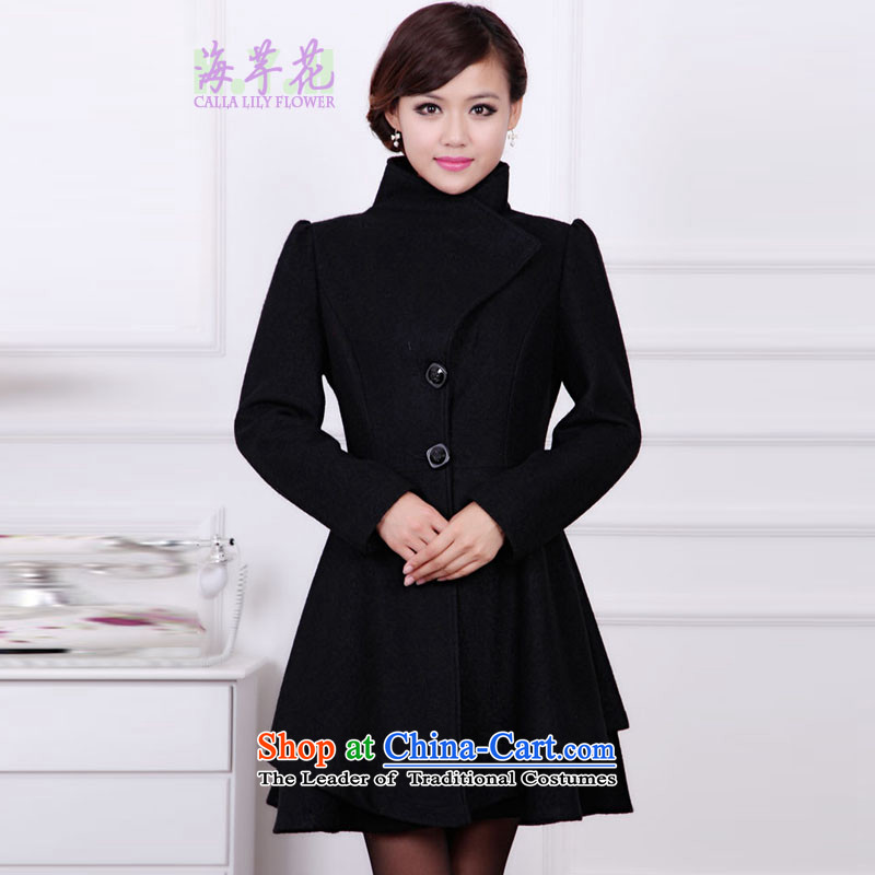 The sea route take the Korean version of the liberal long dual-use collar height waist large Sau San Mao jacket�L Black 4713-7?