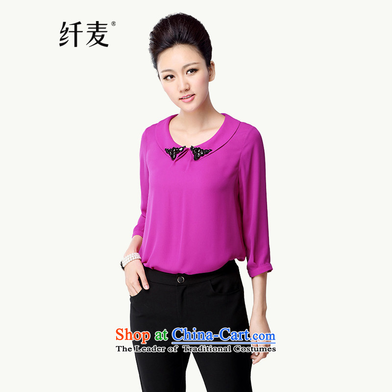 The former Yugoslavia Migdal Code women 2015 Autumn replacing the new Korean version of fat mm long chiffon shirt of 7 to43016-sleeved T-shirtby red5XL