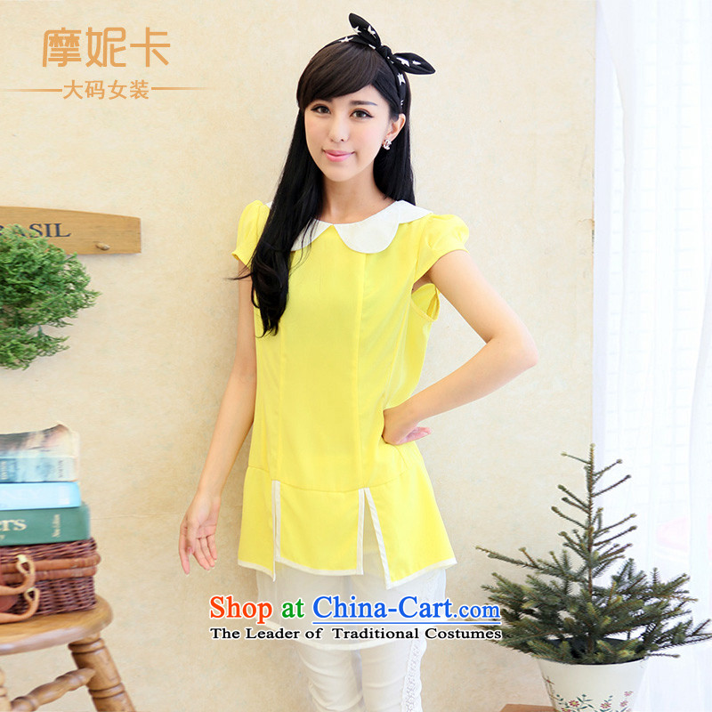 Thick sister video thin Korean women XL 2014 mm thick summer new doll collar chiffon short-sleeved dresses yellow XXL