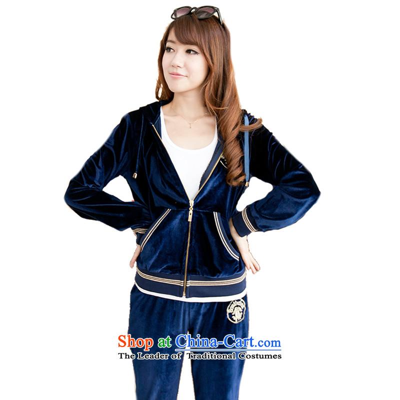 The autumn and winter load xl female thick mm Fashion Cap leisure video Sau San thin gold velour sportswear dark blue燣