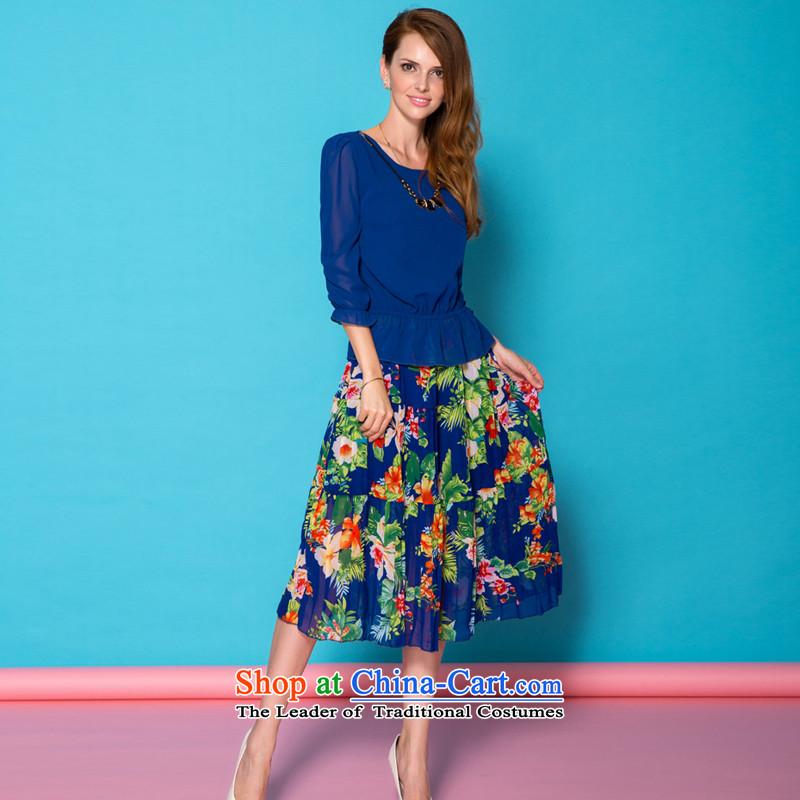 Summer 2015 XL female thick mm loose video thin stylish 7 cuff chiffon dresses two kits blue燣