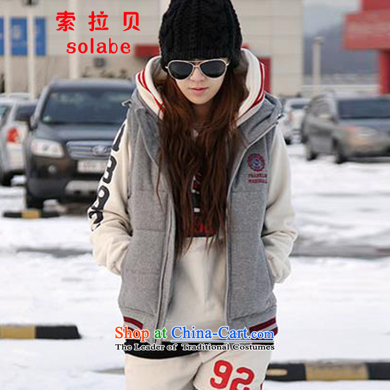 In the Addis Ababa solabe_ autumn and winter new plus lint-free flows of warm women thick vest Korea Women's code version of large fat mm leisure cardigan vest female pp. 75-83 Gray�L