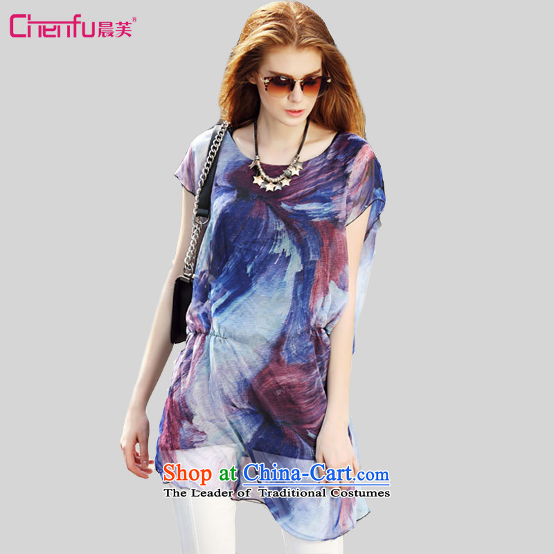 2015 summer morning to the new Europe and to increase the number of women with thick mm wild Foutune of video thin ink stamp in the dispatch of imagery long T-shirt chiffon 4XL( blue T-shirt for coal) 150 - 160131
