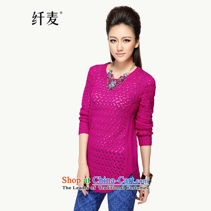 The former Yugoslavia Migdal Code women 2014 new fall thick mm in replacing long engraving knitwear燳F-14008 shirt爋f the girl red燲L