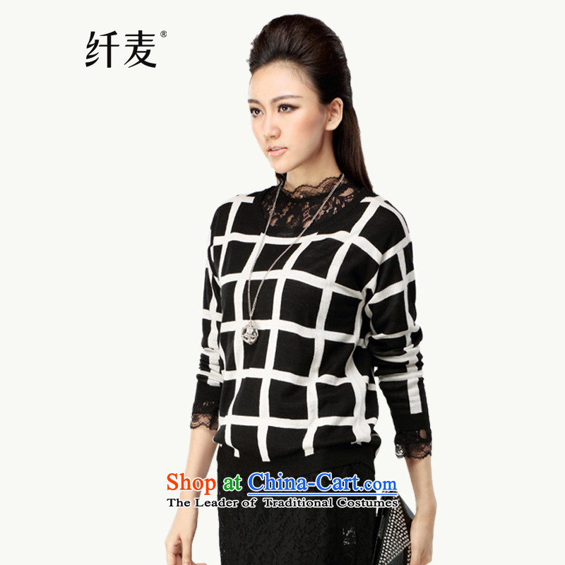 The former Yugoslavia Migdal Code women 2015 Autumn replacing new stylish black-and-white of the mm thick knitwear燳F-14015 female燾heckered shirt燲L