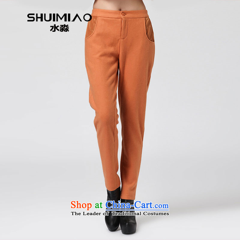 The 2014 autumn water by replacing the new graphics thin Wool Pants larger women in mm thick high waist pant DW2507 gold XXL