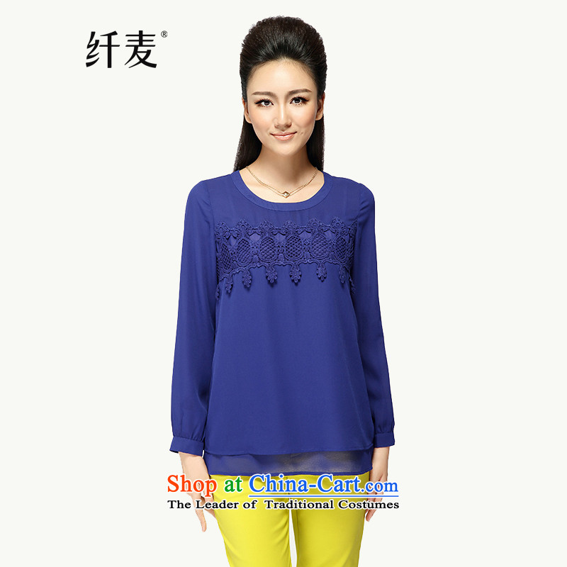 The former Yugoslavia Migdal Code women 2015 Autumn replacing the new fat mm lady lace Korean long-sleeved shirt loose chiffonblue5XL 43175