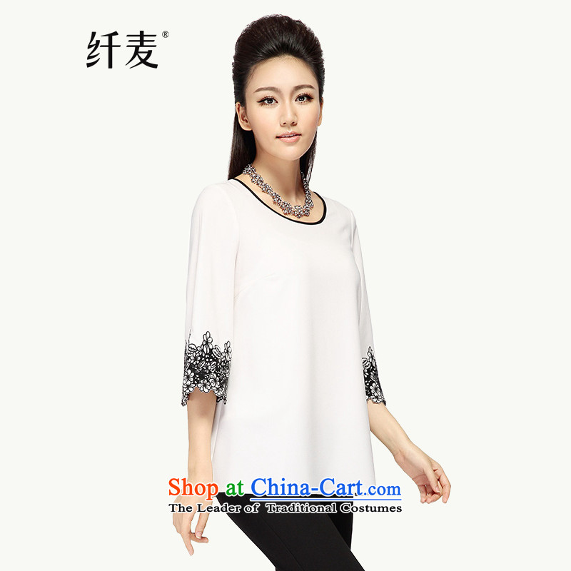 The former Yugoslavia, the major autumn 2015, Mak Code women thick mm loose embroidery of 7 to�182-sleeved T-shirt燱hite�L