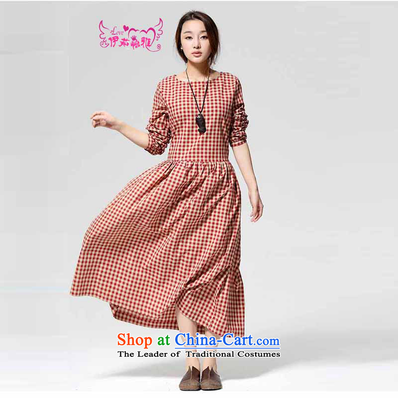 El-ju Yee Nga2015 spring and fall new larger female compartment long long-sleeved dresses YJ9583 red,S