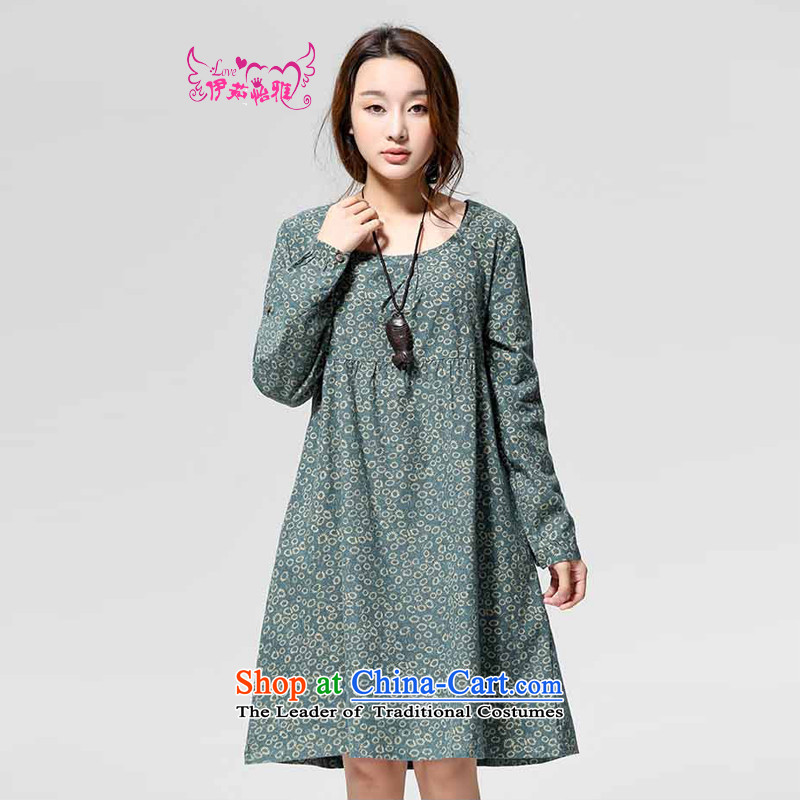 El-ju Yee Nga thick, Hin thin large spring and fall 2015 Women's new long-sleeved dresses YJ9586 pale green S
