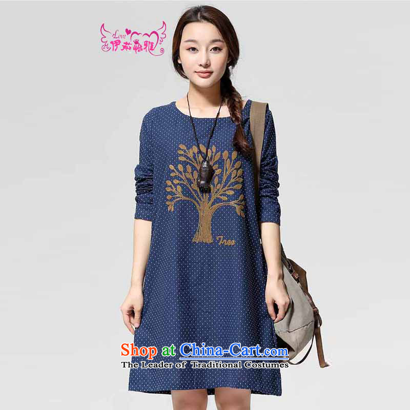 El-ju Yee Nga爈arge load autumn 2014 New Sau San embroidery cotton linen dresses RJ9568 BLUE燣