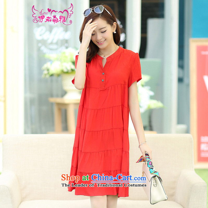 El-ju Yee Nga�L new summer plus fertilizer video thin Korean big sister thick Code women's dresses RJ169 large red燲L