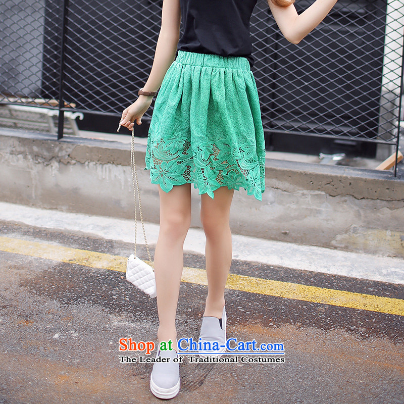 To increase the number of women in summer 2015 mm thick Korean version of the new video quality lace upper body thin short skirts green聽XXXXL skirt