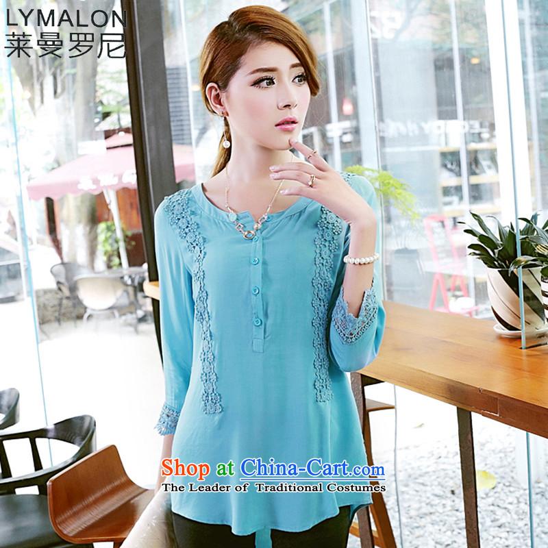 The lymalon2015 lehmann autumn new product version of large Korean women's stylish video decode lace tick spent thin 7 Cuff Pure cotton T-shirt 1674 light blue燲XL