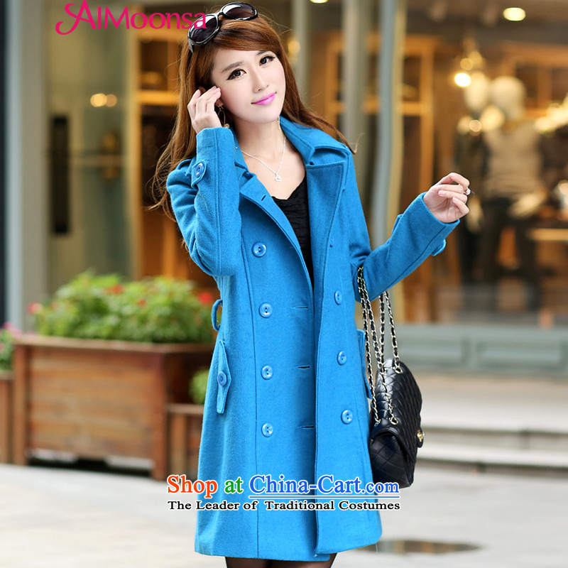Elizabeth Korean Dream HIV wool coat women so Sau San jacket 2015 Fall_Winter Collections of ladies new graphics in thin long Sau San, double-a wool coat blue聽XL