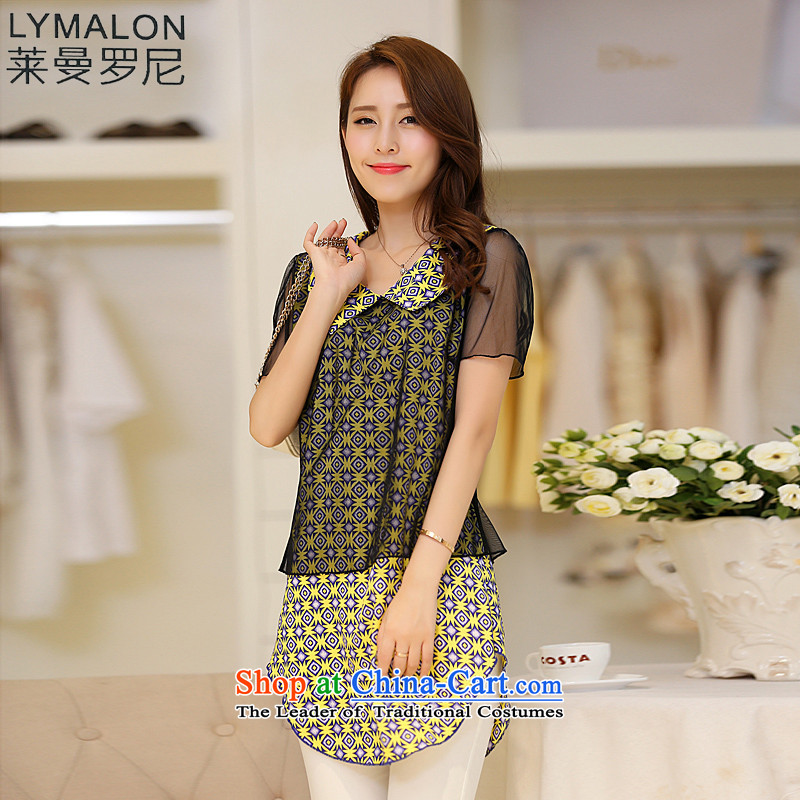 The lymalon2015 lehmann summer new product version of large Korean women's stylish video decode thin loose wild gauze stamp short-sleeved shirt color picture燲XXXL 1689