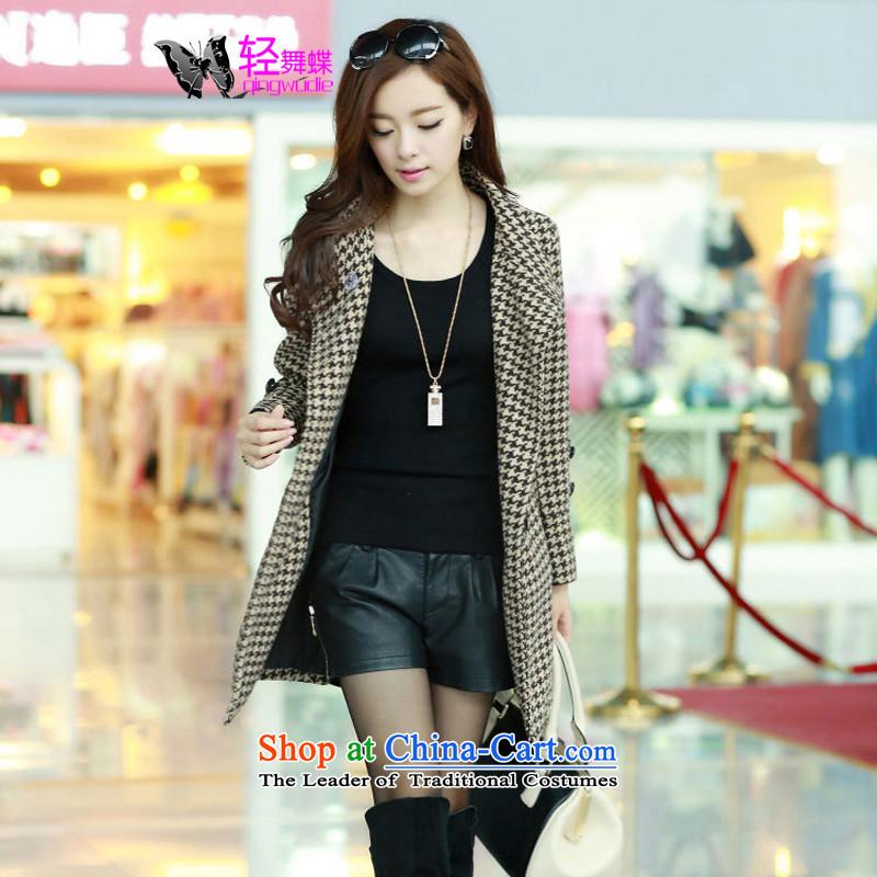 Light dance butterfly2015 winter clothing new Korean women's gross? chidori of female coats gross jacket female coffee?M