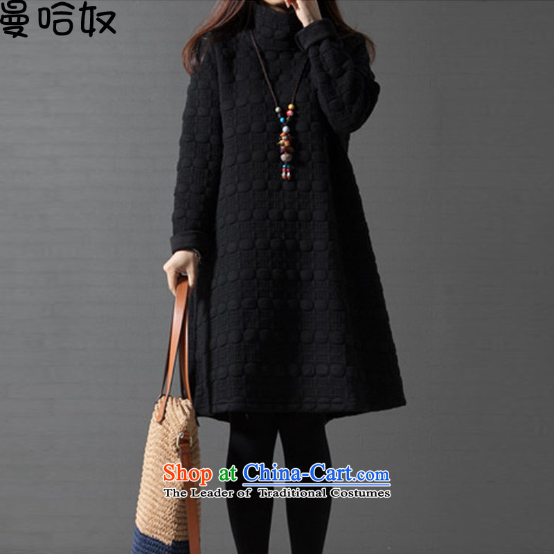 Manhattan arsenal of autumn and winter 2015 new Korean version of large numbers of ladies thick mm long-sleeved relaxd the lint-free, forming the thick black skirt聽XL