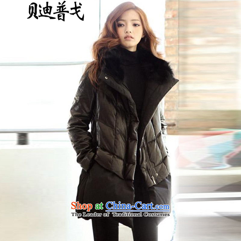 Brady pugo to increase female cotton coat loose thick warm larger female 泾蜮 thick MM sleeved jacket PU _7127 black 2XL around 922.747 Paras. 135-145