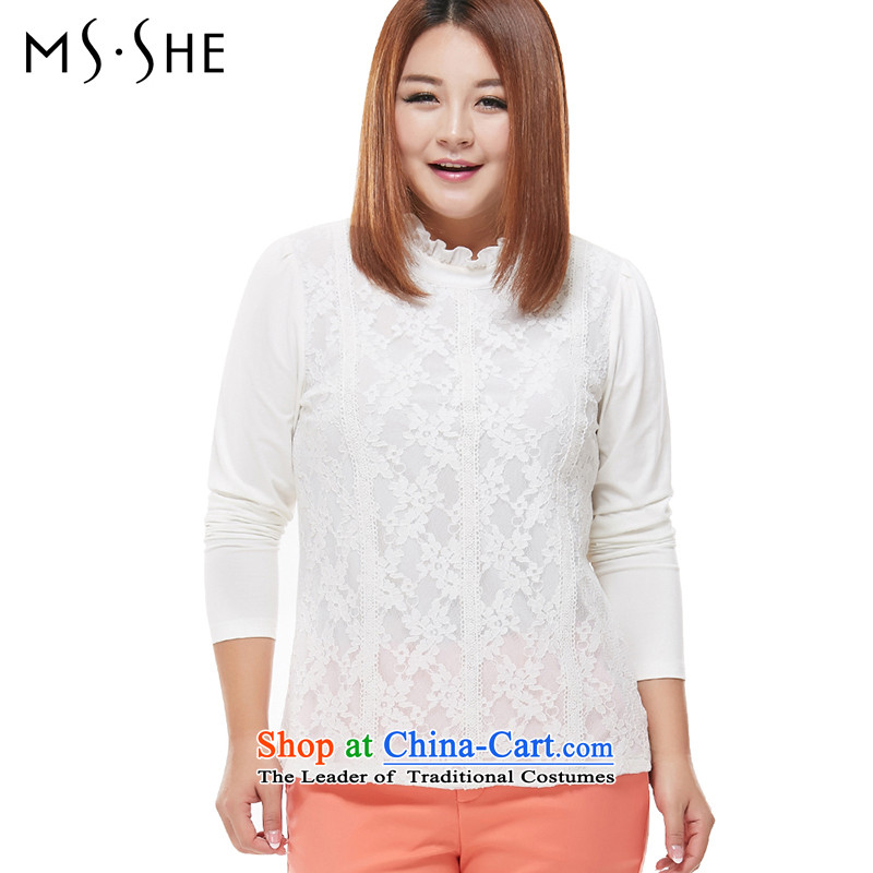 Msshe XL WOMEN FALL 2015 new product version micro thick video won thin lace stitching t-shirt 1-800-567-7542 White�L